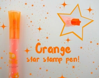 ORANGE single star Chinese stamp pen - kawaii tiny neon shooting star stamp - constellation - atronomy - outer space night sky - stargazing