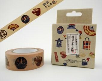 Japanese culture 10m washi tape in box - Daruma dolls - hand fans - folk toys - food - writing - decorative paper masking tape - deco tape