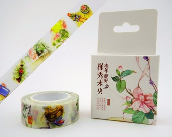 Beautiful Chinese cultural items & scenes 10m washi tape in box - jewled hair pins - moon and flowers paper masking tape - forest lanterns