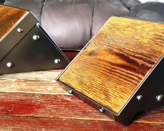 "One-of-a-Kind Pair of Sturdy 6"" Square Speaker Shelves Stands Made of Reclaimed Wood, Recycled Steel and Lots of Rivets"