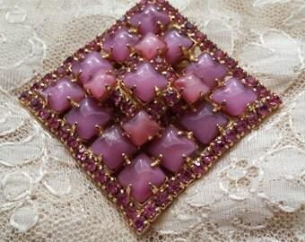 Vintage pink crystal and stone brooch