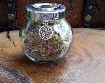 Anti-Anxiety Herbal Blend (6 oz.) w/ Dreamcatcher Charm: Mullein, Skullcap, Mugwort, Calendula, Rose Petals, Lavender