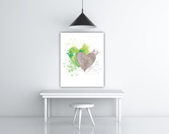 Two Hearts Chartreuse Aquarelle Romantic Gift, Green And Gray Watercolor Splash, Heart Wall Art Love Heart Family Artwork, Valentines Sign