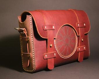 Vintage handmade bicycle leather bag