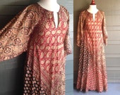 Silk Indian Block Print Maxi Dress / Vintage Adini style Tunic Caftan / 60s Festival Gown, Angel Sleeve / Boho Maxi Dress / Hippie Gypsy