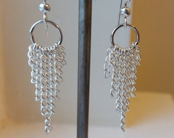 Silver Dangling Chain Earrings