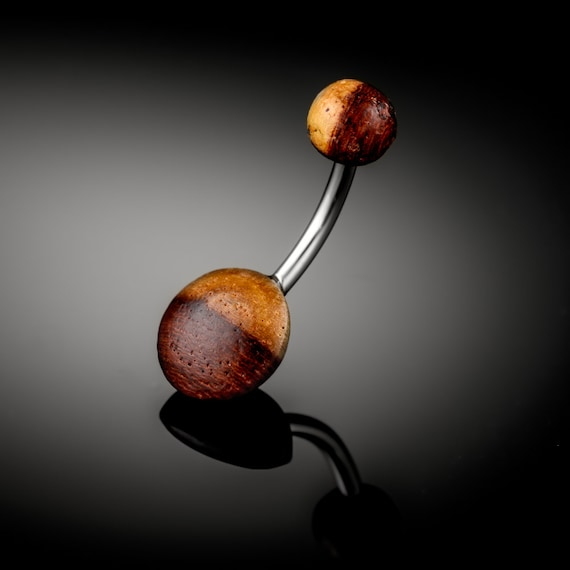 Tamarind Wood belly bar. tribal belly ring. organic piercing. belly button jewelry. navel jewelry. belly piercing jewelry. wood pierc