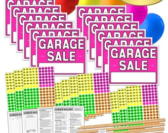 Garage Sale Sign Kit with Pricing Stickers and Wood Sign Stakes