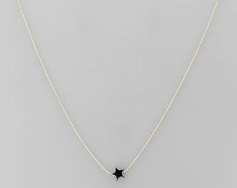 Tiny Hematite Stone Star Necklace