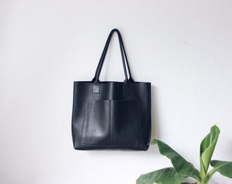 black leather weekender, leather bag, big leather tote bag