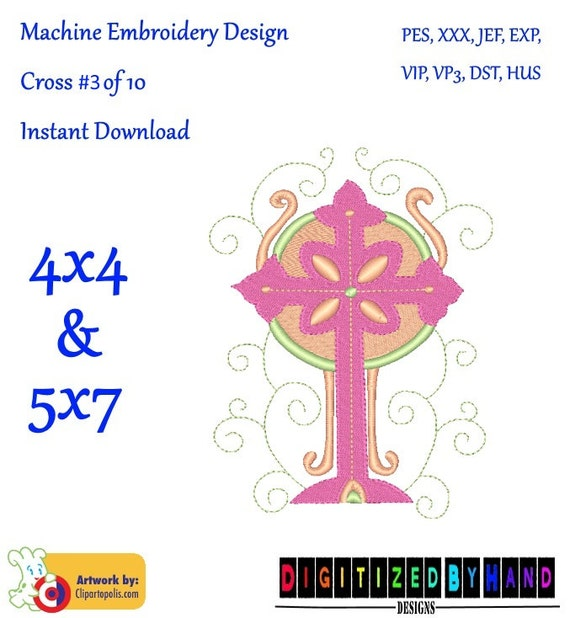 Cross embroidery design of religious