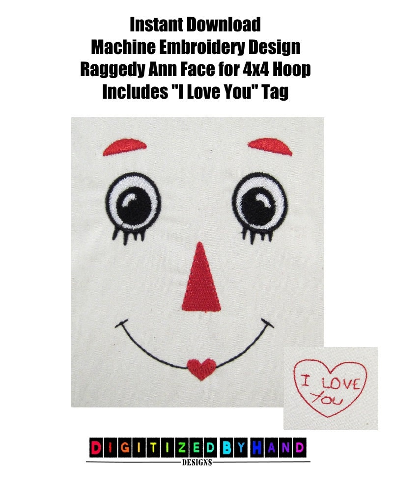 instant download raggedy ann face redwork machine embroidery