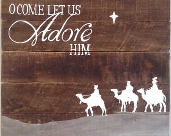 Christmas Wooden Sign; christmas carol, christian religious holiday rustic chic wood art