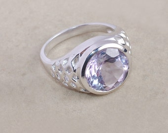Pink Amethyst Ring - Bezel Setting Ring - Solitaire Ring - Handmade Ring - 925 Sterling Silver - Purple Gemstone Ring - Christmas Gift Idea