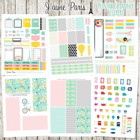 J'aime Paris Printable Planner Stickers - 6 Full Pages!  (Made to fit The Happy Planner by MAMBI - Create 365)