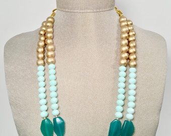 Sea Foam Green And Gold Statement Necklace