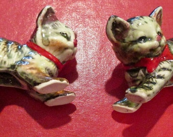 Vintage Porcelain Tabby Cat Salt and Pepper Shakers Made in Japan 1960?