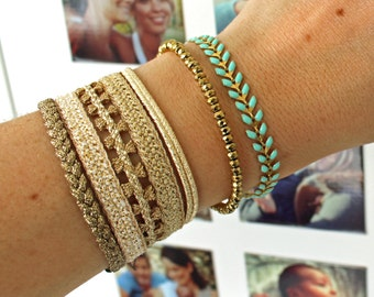 "Cuff multi-strand in lurex Pemberley ""Gatsby"" (available in gold or silver) - cuff bracelet"
