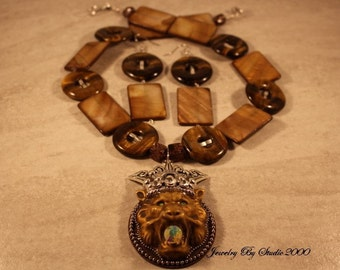Tiger Eye and Shell Necklace Set with 80mm Amy Labbe Pendant