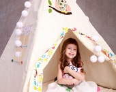 Handmade Wigwam/ Children's playtent/ Children's Tent with owls/ Children toys/ Tipi enfant quality/ Pretty Owls/ play house/ Three Snails