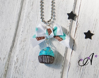 necklace fimo polymer clay pendant cupcake blue ribbon