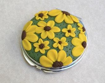 Boho Compact Mirror, Hipster Compact Mirror, Polymer Clay Mirror, Pocket Mirror, Compact Mirror, Flower Compact Mirror, Bridesmaid Gift