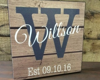Personalized Last Name & Date Wood Sign, Wedding Gift, Anniversary Gift, Gift For Her, Couples Gift