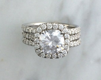 3 Three Ring Bridal Engagement Set In 14K White Gold W Diamonds