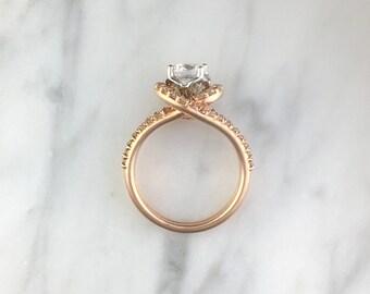 6.5mm Forever One DEF Moissanite Round Diamond Swirl Halo Split Shank Engagement Ring - 14K Rose Gold - Very Unique Ring - 14K White Gold