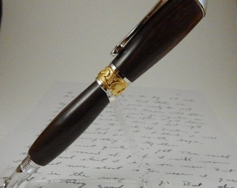 Easter gift, For him, rollerball pen, wooden made of brown to black grained Madagascar ebony with rhodium and 22kt gold-plate components