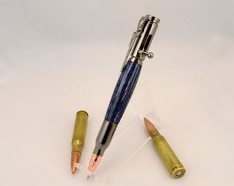 Bolt Action Wooden Pen - Tactical Rifle Bullet Ballpoint Pen - Every Day Carry Pen - EDC Blue Pen - Police Pen - Birthday Gift