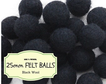 100 Wool Felt Balls in Bulk, Black Felted Balls 25 mm/2.5 cm Wool Felted Beads, 100% Wool Felt Pom Poms, Mix and Match, Large and Small