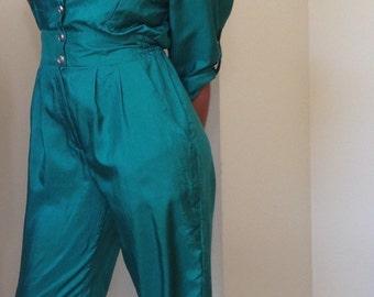 80s Joan Walters Emerald Green Jumpsuit