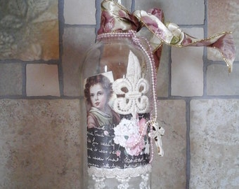 French Style Decoupaged Bottle