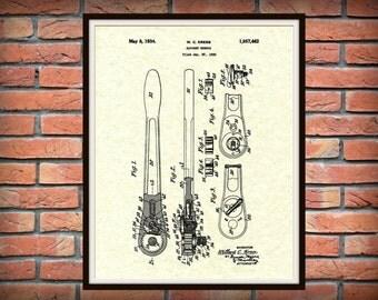 Patent 1934 Ratchet Wrench -  Socket Wrench Patent Print - Poster - Mechanics Art - Automotive Art - Gift for Him - Auto Repair Shop Art