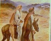 1930 Mary & Joseph Nearing Bethlehem Matted Vintage Christmas Print