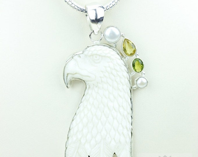 Soaring Eagle TOTEM Goddess Face Moon Face Bone Carving 925 S0LID Sterling Silver Pendant + 4MM Chain p3881