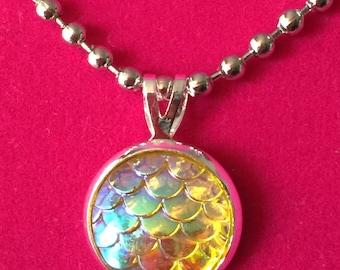 Yellow Mermaid Scales Pendant Necklace
