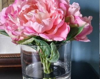 Silk Pink Peony Arrangement in Faux Water-Artificial Flowers-Table Decor-Modern Decor-Floral Arrangement-Table Centerpiece-Gift-Accent Decor