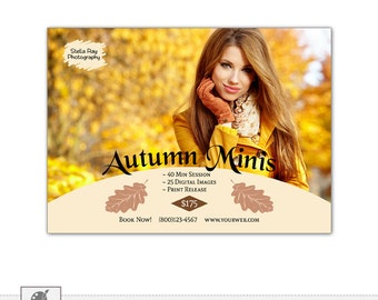 Autumn Fall Mini Session Template, Marketing Board, Photoshop PSD Template for Photographers - s521