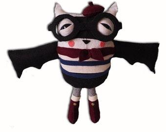 Benoit the Bat - handmade plush creature toy - unique halloween birthday gift