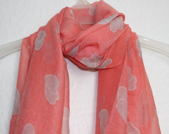 Heart Scarf, Pink Heart Scarf, Valentines Gift Salmon Pink Hearts Scarf, Womens Gift, For Her, Spring, Summer Scarf, Autumn Scarf, Scarves