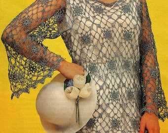Crochet Lace Slipover Top Pattern,  Womens Summer lace pullover pattern,-  PDF Download