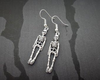 Skeleton Earrings, Halloween Jewellery, Horror Earrings, Alternative Jewelry, Skull Earrings, Dangling Earrings, Punk Jewelry, Skeleton Gift