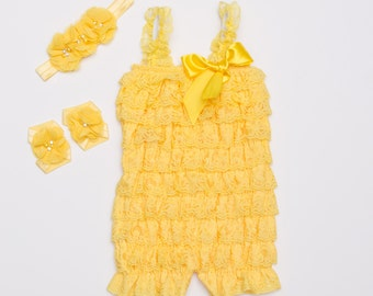 Yellow Lace Romper set, Lace baby romper, Baby girl romper,Headband, Barefoot Sandals, Yellow Cake Smash Outfit, Photo Prop