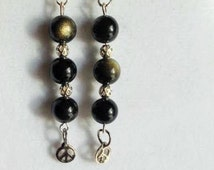Drop Down Earrings with Blk/Gldn Obsidian Gemstones with Silver Spacers, Peace Sign Charm( Protection,Insight) Reiki Charged!