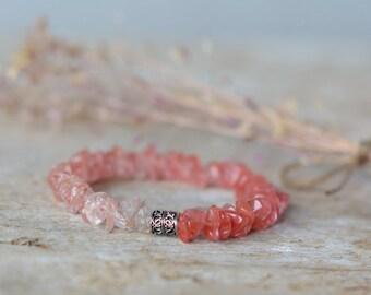 Bracelet silver jewelry handmade silver bracelet gemstone minimalist bracelet silver gift bracelet gift for her pink bracelet beaded