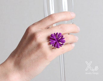 Purple Flower Ring, purple Statement Ring, women ring pink, large purple jewelry, pink fashion ring