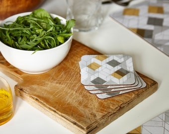 """Square coasters, geometric coasters, mustard and grey coasters, graphic coasters, set of 4, 10x10cm, 4x4"""""""