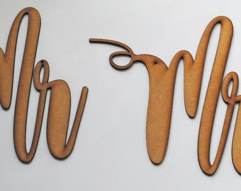 Beautiful Calligraphy Mr & Mrs Chair Signs - Laser Cut Blanks